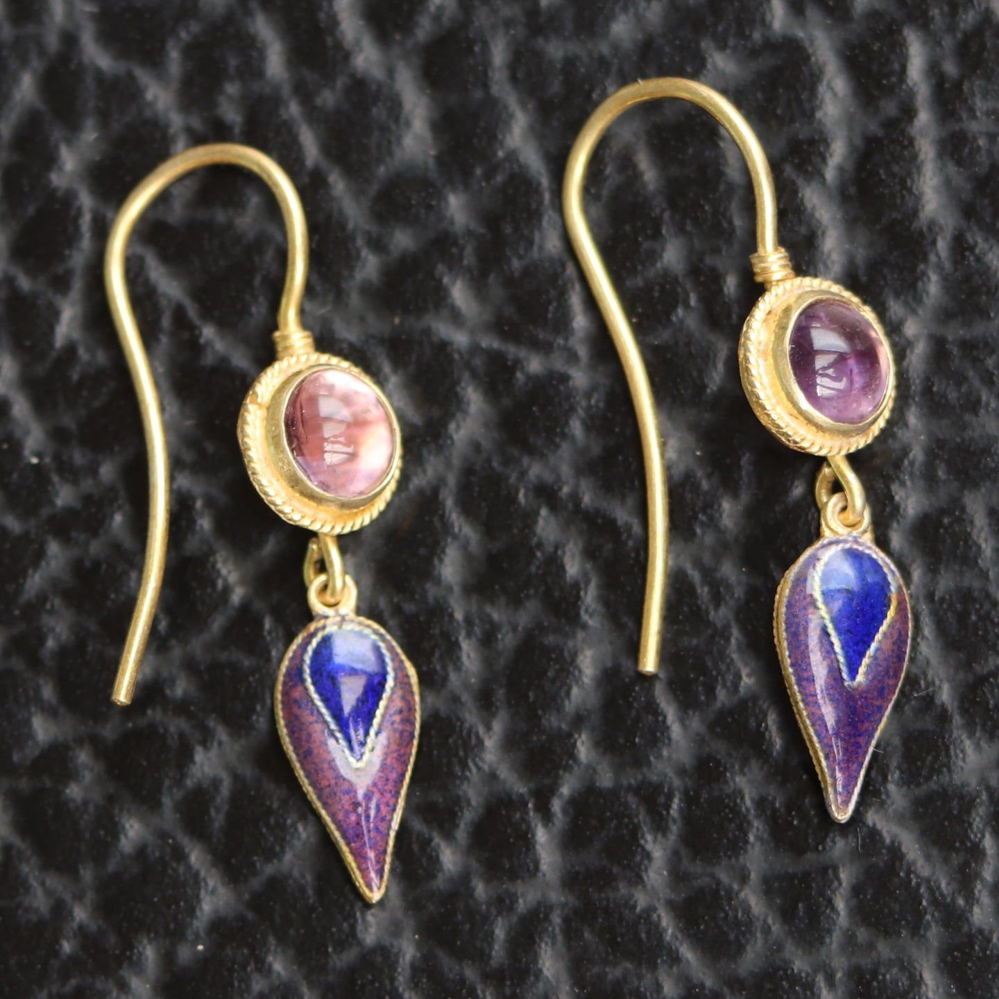 Vintage Thousand Flowers Purple Amethyst Dangle Earrings