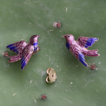 Vintage Thousand Flowers Mauve Bird Gold-Vermeil Studs