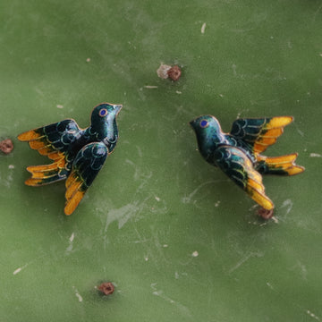 Vintage Thousand Flowers Forest Bird Gold-Vermeil Studs