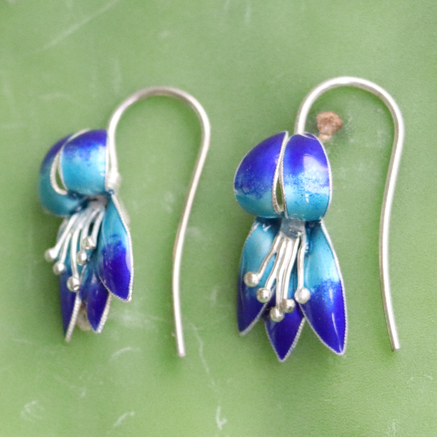 Vintage Thousand Flowers Blue Fuchsia Silver Earrings