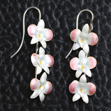 Vintage Thousand Flowers Ice Pink Boat Orchid Earrings