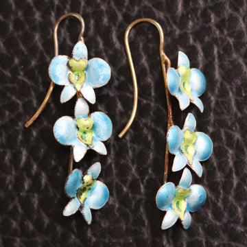 Vintage Thousand Flowers Ice Blue Boat Orchid Earrings