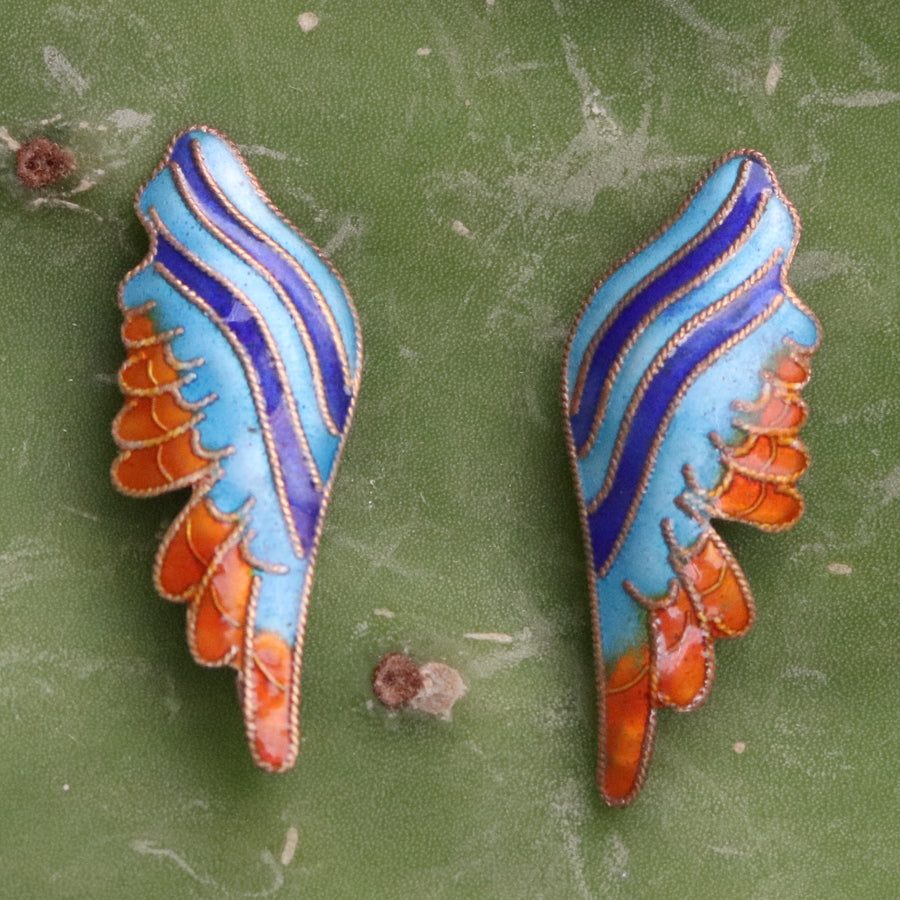 Vintage Thousand Flowers Orange and Blue Birds Wing Earrings