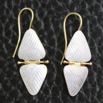 Vintage Thousand Flowers White Double Triangle Earrings