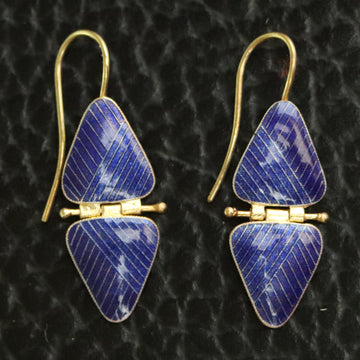 Vintage Thousand Flowers Blue Double Triangle Earrings