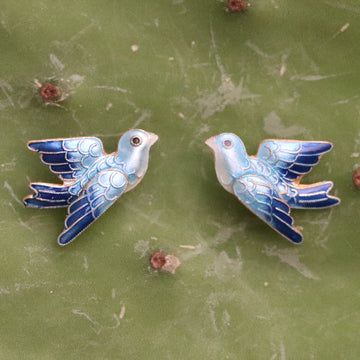Vintage Thousand Flowers Blue Bird Gold-Vermeil Studs