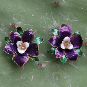 Vintage Thousand Flowers Purple Lilac Earrings