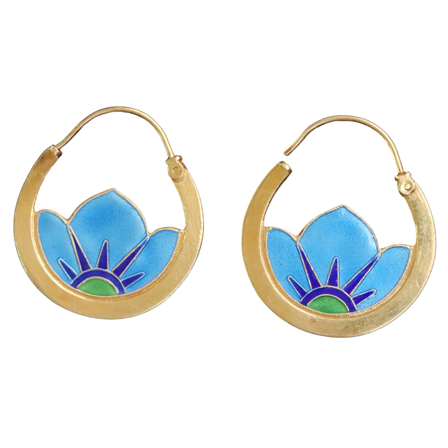 Vintage Thousand Flowers Blue Small Japanese Crest Earrings