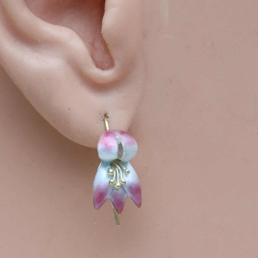 Vintage Thousand Flowers Pink Fuchsia Flower Earrings