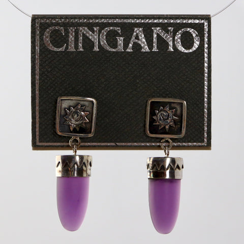 Purple Glass Shield Earrings