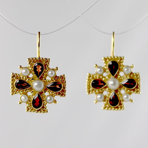 Isabella of Castille Garnet Earrings