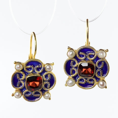 mary queen of scots earrings in garnet