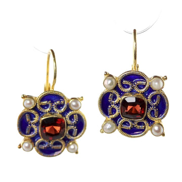 Mary Queen of Scots Blue Garnet Earrings
