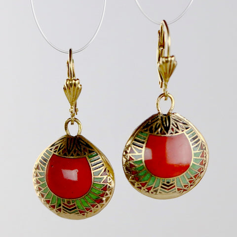 Egyptian Red Cloisonné Earrings
