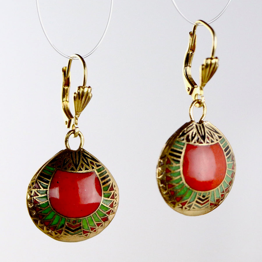 Vintage Shashi Red Scarab Earrings