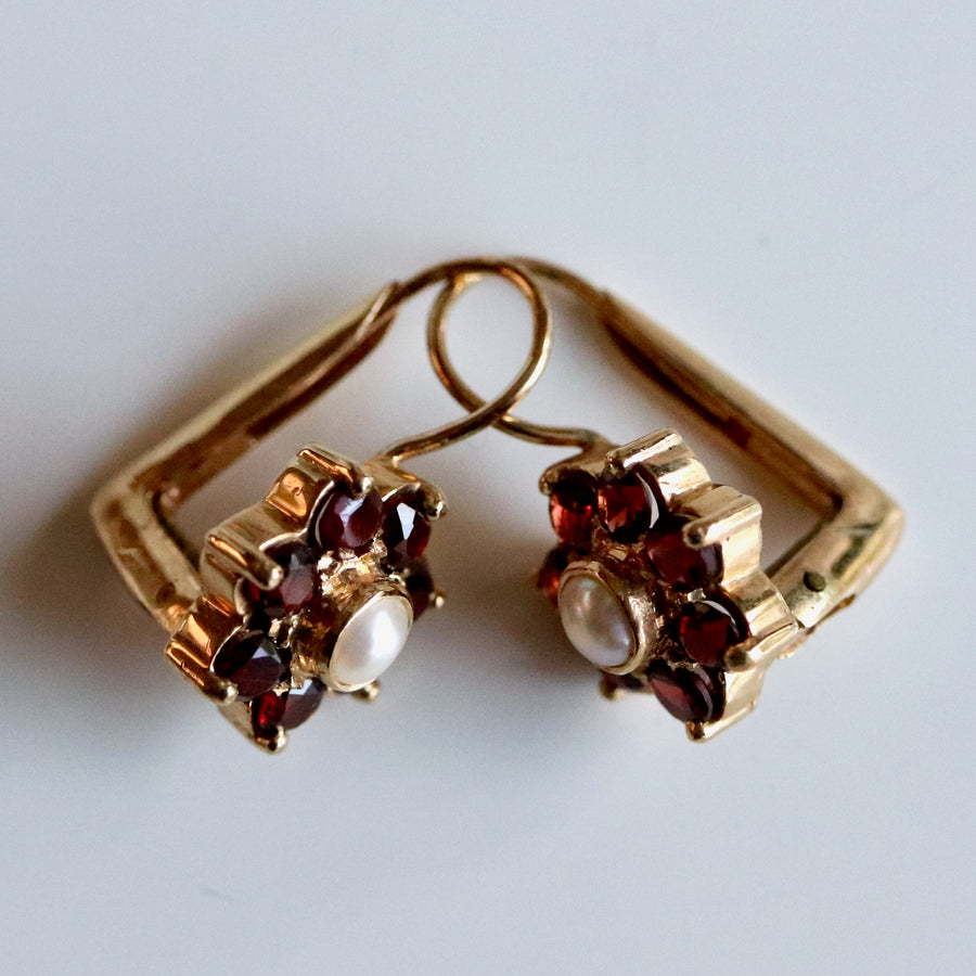 Vinca 14k Gold, Pearl and Garnet Earrings