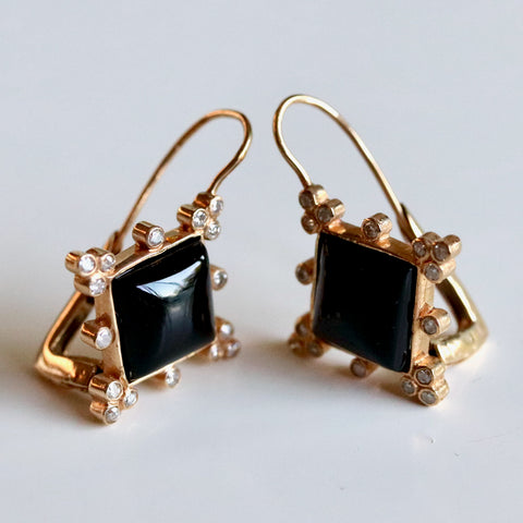 Monte Carlo Gold, Onyx and Diamond Earrings