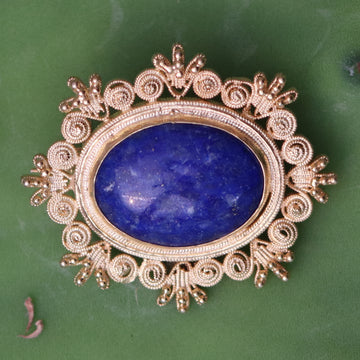 Victorian Snowflake Lapis Brooch