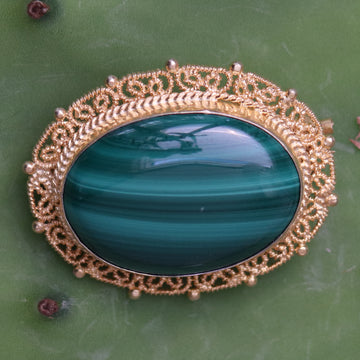 Good Queen Bess Malachite Brooch