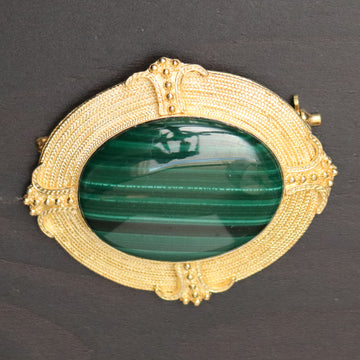 Greek Revival Malachite Brooch