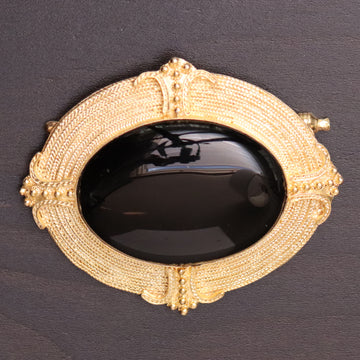 Greek Revival Onyx Brooch