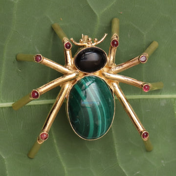 Malachite, Onyx and Garnet Spider Pin