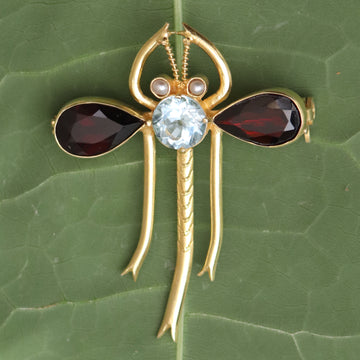 Garnet, Blue Topaz and Pearl Dragonfly Pin