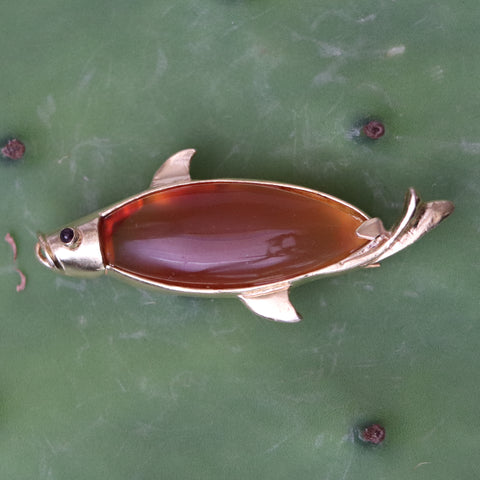 Carnelian and Garnet Fish Brooch
