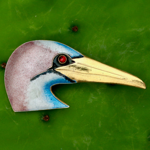 Seagull Head Garnet Brooch