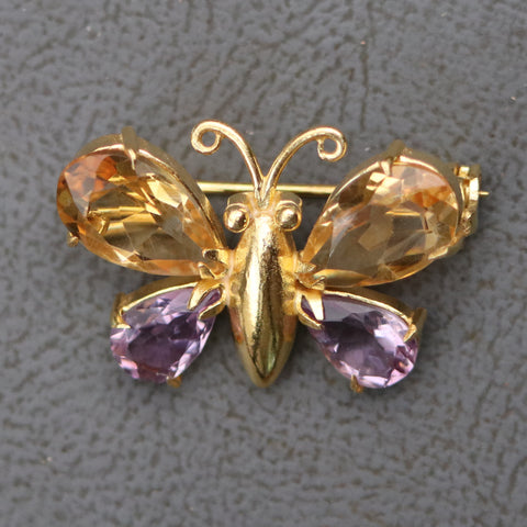 Nouveau Citrine and Amethyst Butterfly Pin