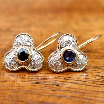 Troubadour 14k Gold, Diamond and Sapphire Earrings
