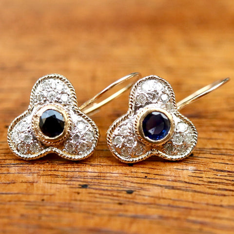 Troubadour Diamond and Sapphire Earrings