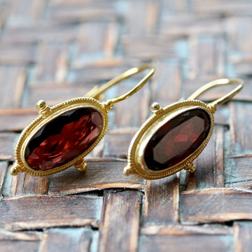 Lewis Carroll 14k Gold and Garnet Earrings