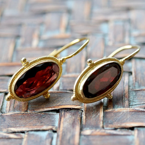 14k Lewis Carroll Garnet Earrings