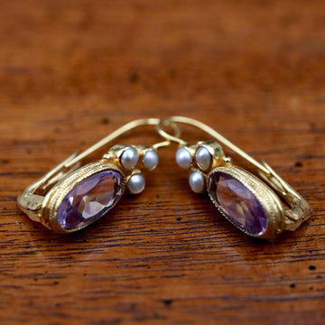 Balmoral Castle 14k Gold, Amethyst and Pearl Earrings