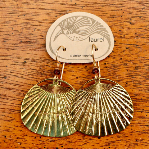 Vintage Laurel Burch Fan Gold-Plate Earrings