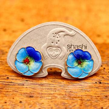 Vintage Shashi Blue Morning Glory Flower Studs