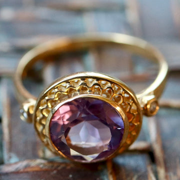Ariadne 14k Gold, Amethyst and Diamond Ring