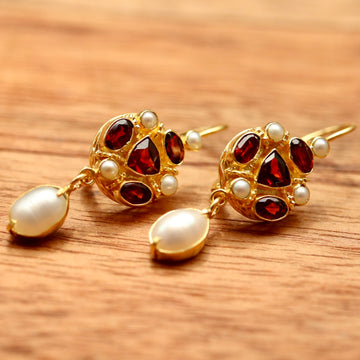 Lady Anne Garnet and Pearl Earrings