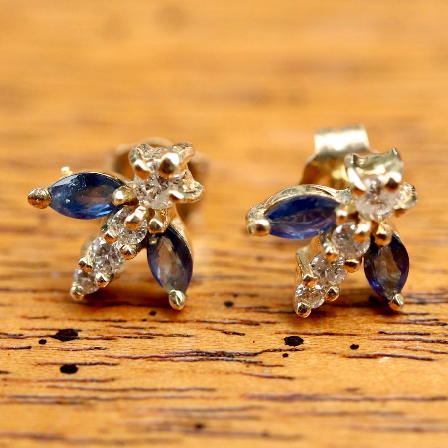 Flutter 14k Gold, Diamond and Sapphire Earrings