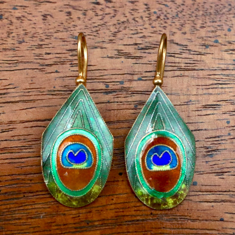 Vintage Shashi Peacock Feather Earrings