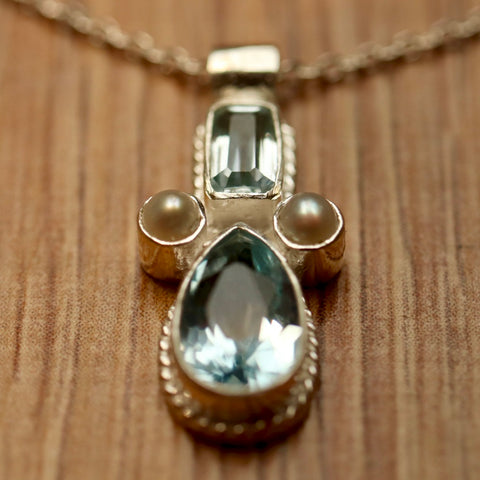 Eleanora Duse Necklace: Silver, Blue Topaz and Pearls