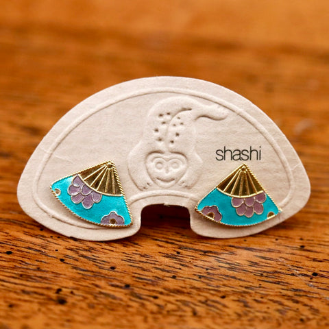 Vintage Shashi Enamel Fan Earrings