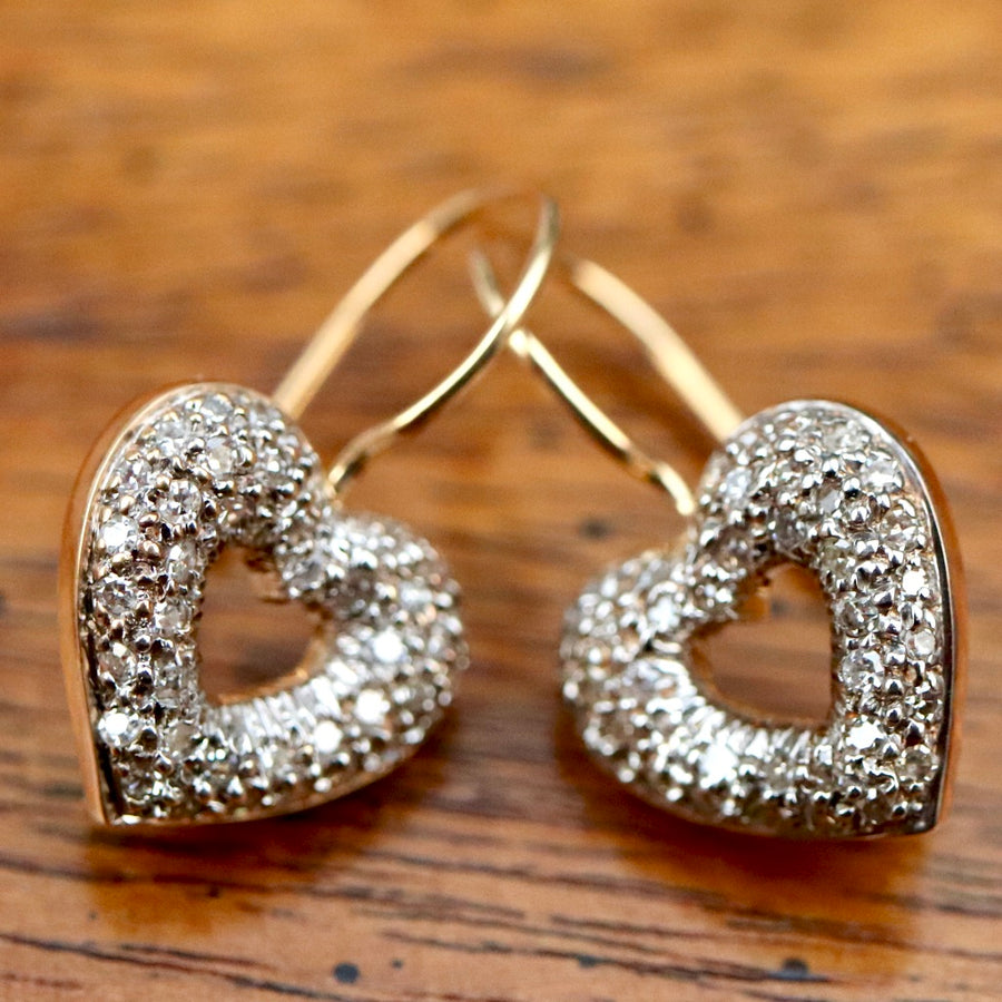 Saint Valentines Day 14k Gold and Diamond Earrings