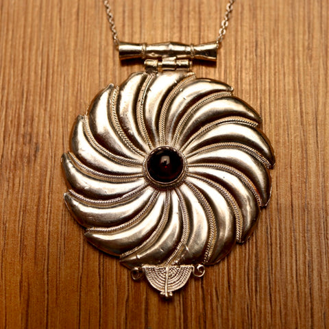 Asante-Sunburst Silver Necklace