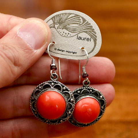 Vintage Laurel Burch Glass Round Silver-Plate Earrings