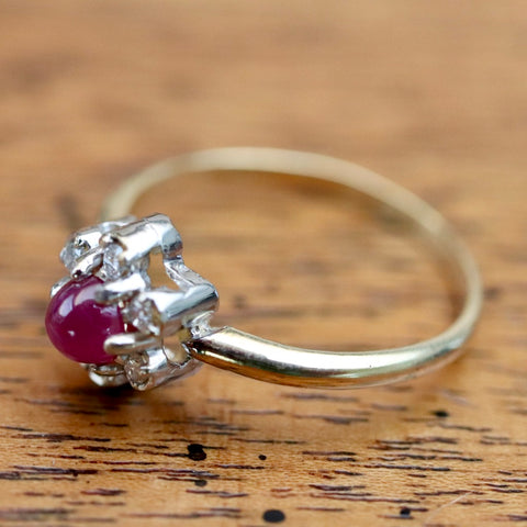 Ruby & Diamond Flower Ring
