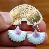 Vintage Shashi Scallop Earrings