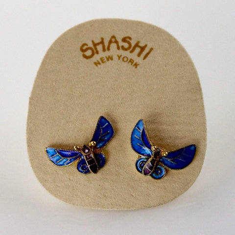 Vintage Shashi Le Petit Papillon Enamel Gold-Vermeil Earrings