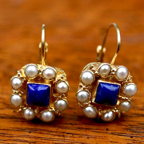 Mediterranean Lapis & Pearl Earrings